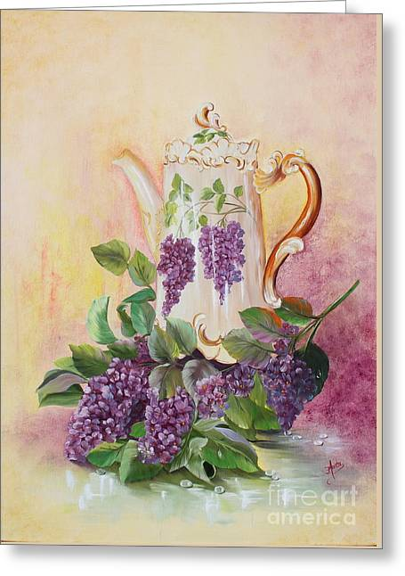 Shower Curtain Greeting Cards - Antique Coffeepot Greeting Card by  ILONA ANITA TIGGES - GOETZE  ART and Photography