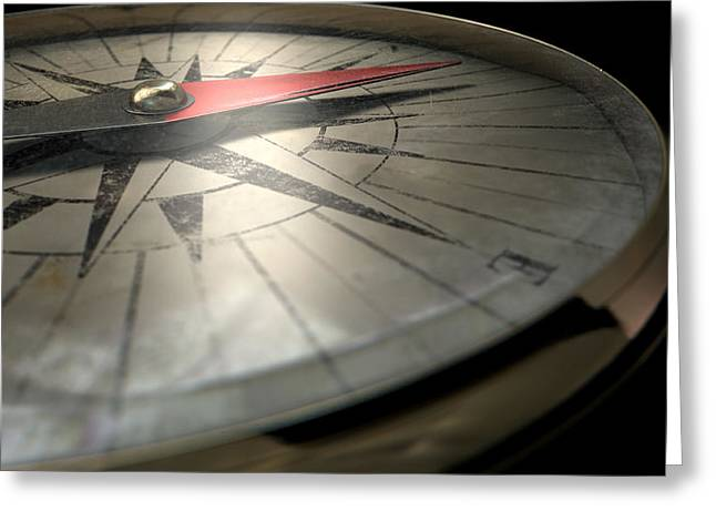 Hiking Digital Greeting Cards - Antique Compass Closeup Greeting Card by Allan Swart