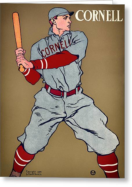 Baseball Uniform Drawings Greeting Cards - Antique Cornell Baseball Poster 1908 Greeting Card by Mountain Dreams