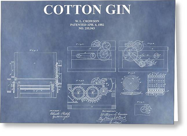 Antique Cotton Gin Patent Greeting Card by Dan Sproul