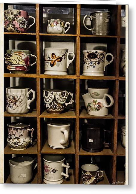 Valuable Photographs Greeting Cards - Antique Cups on Display Greeting Card by Mick Anderson