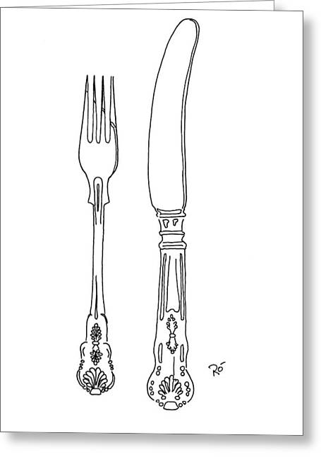 Interior Still Life Drawings Greeting Cards - Antique Cutlery Duo Greeting Card by Roisin O Farrell