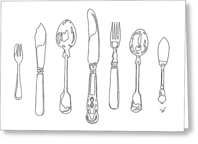 Interior Still Life Drawings Greeting Cards - Antique Cutlery Full House Greeting Card by Roisin O Farrell
