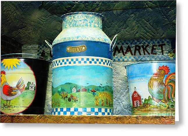 Paint Photograph Greeting Cards - Antique Dairy Milk Can And Pails Greeting Card by Judy Palkimas