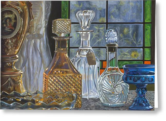 Decanters Paintings Greeting Cards - Antique Decanters Greeting Card by Scott Borders