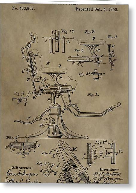 Antique Dental Chair Patent Greeting Card by Dan Sproul