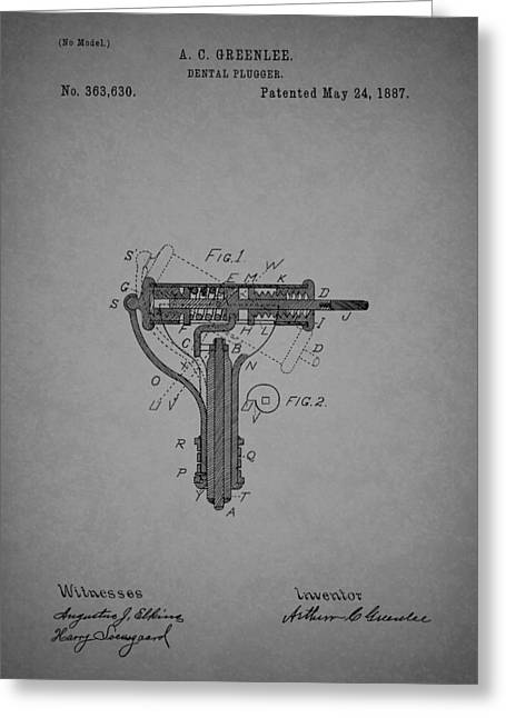 1880s Drawings Greeting Cards - Antique Dental Plugger Patent 1887 Greeting Card by Mountain Dreams