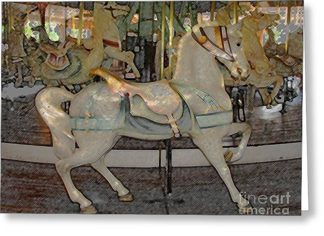 Pastimes Greeting Cards - Antique Dentzel Menagerie Carousel Horse Colored Pencil Effect Greeting Card by Rose Santuci-Sofranko