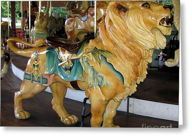 Duchess Greeting Cards - Antique Dentzel Menagerie Carousel Lion Greeting Card by Rose Santuci-Sofranko