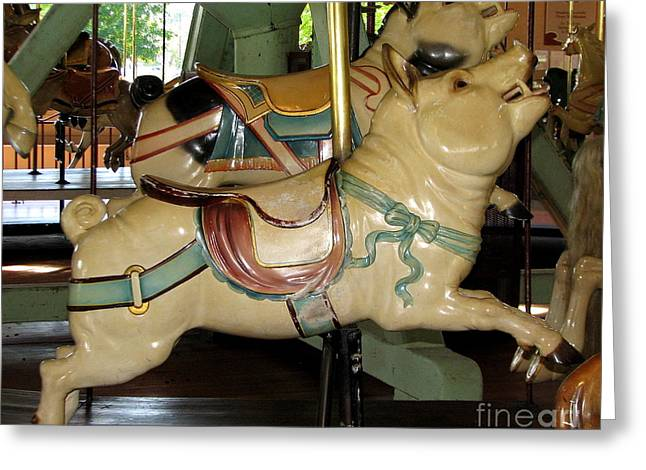 Antique Dentzel Menagerie Carousel Pigs Greeting Card by Rose Santuci-Sofranko