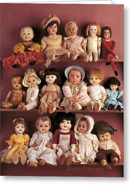 Baby Girl Greeting Cards - Antique Dolls Greeting Card by Anne Geddes