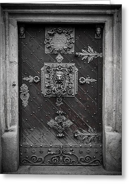 Entrance Door Greeting Cards - Antique doors in Budweis Greeting Card by Christine Till