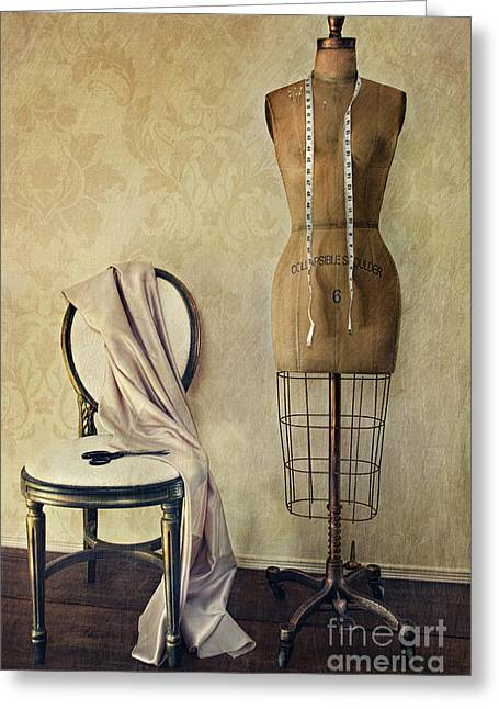 Tailor Greeting Cards - Antique dress form and chair with vintage feeling Greeting Card by Sandra Cunningham