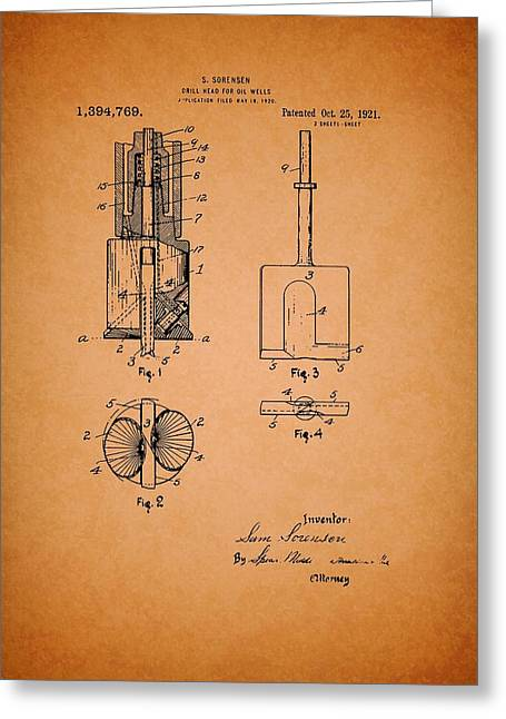 Conferring Greeting Cards - Antique Drill Head for Oil Wells Patent Greeting Card by Mountain Dreams