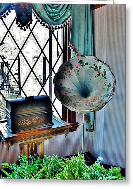 Edison Greeting Cards - Antique Edison Phonograph in the Boardwalk Plaza Lobby - Rehoboth Beach Delaware Greeting Card by Kim Bemis