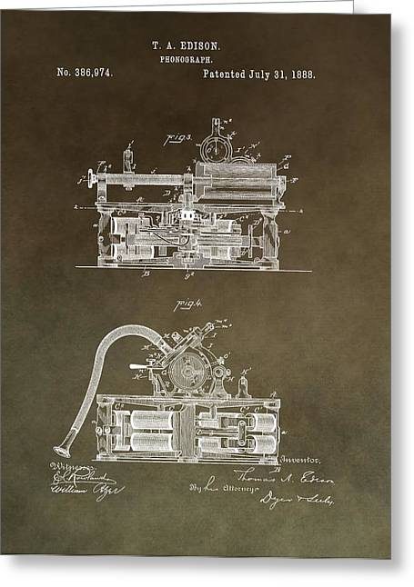 Noise . Sounds Mixed Media Greeting Cards - Antique Edison Phonograph Patent Restored Greeting Card by Dan Sproul