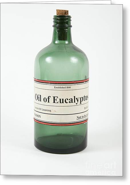 Glass Bottle Greeting Cards - Antique Eucalyptus Oil Bottle Greeting Card by Gregory Davies / Medinet Photographics