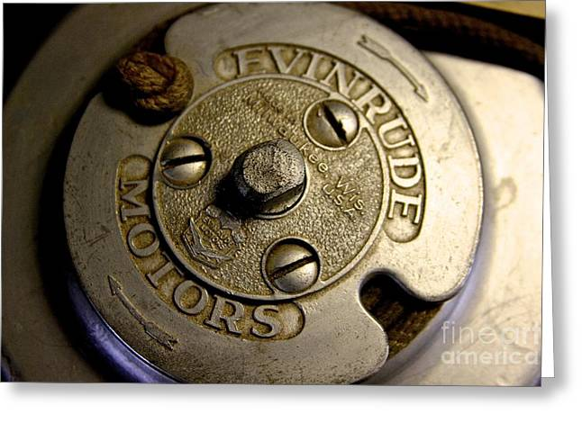 Rewind Greeting Cards - Antique Evinrude Greeting Card by Steve Ratliff