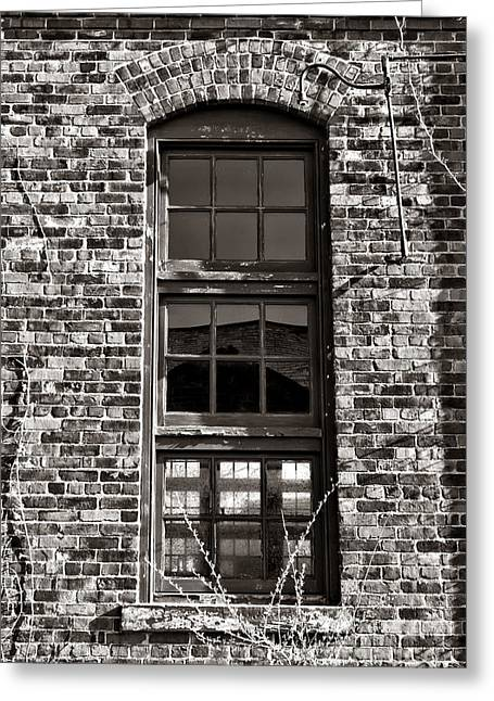 Vacant Greeting Cards - Antique Factory Window Greeting Card by Olivier Le Queinec