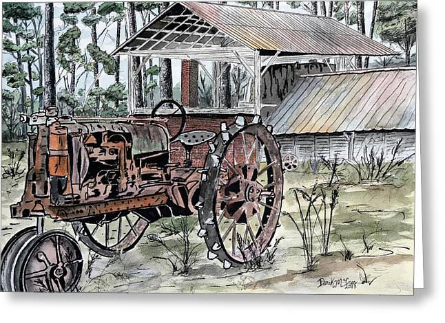 Pen And Ink Rural Drawings Greeting Cards - Antique Farm Tractor   Greeting Card by Derek Mccrea