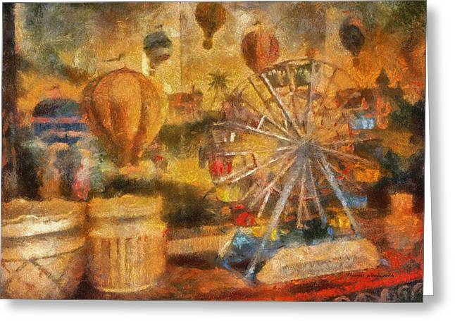 Toy Shop Greeting Cards - Antique Ferris Wheel WDW Photo Art Greeting Card by Thomas Woolworth
