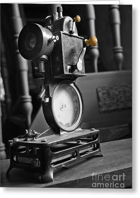 Valuable Photo Greeting Cards - Antique Film Projector Greeting Card by Al Bourassa