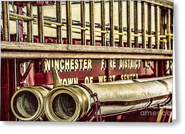 Brass Fittings Greeting Cards - Antique Fire Apparatus Greeting Card by Jim Lepard