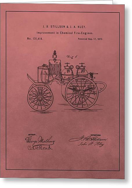 Toys Mixed Media Greeting Cards - Antique Fire Engine Patent On Red Greeting Card by Dan Sproul