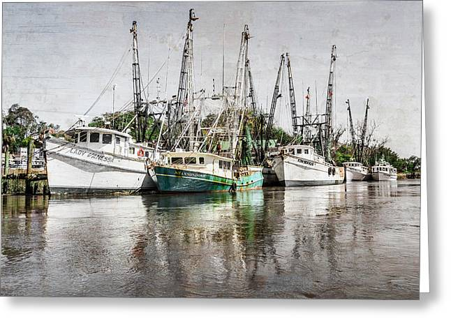 Docked Sailboats Greeting Cards - Antique Fishing Boats Greeting Card by Debra and Dave Vanderlaan