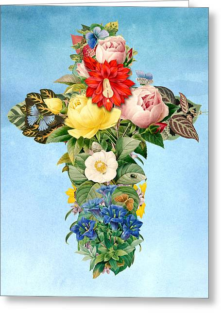 Digital Flower Greeting Cards - Antique Flower Cross Greeting Card by Gary Grayson