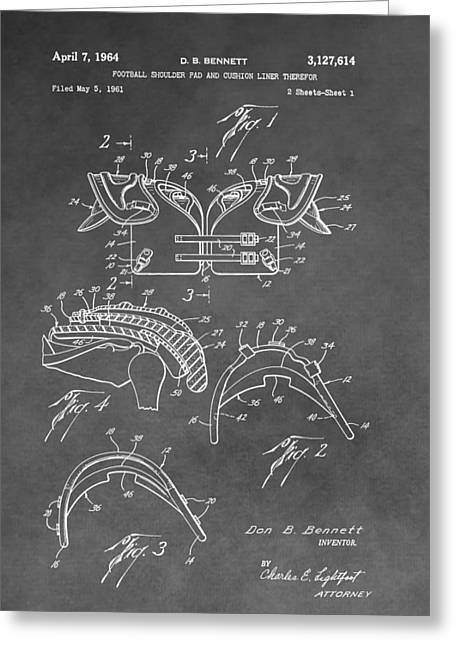 Offense Digital Art Greeting Cards - Antique Football Pads Patent Greeting Card by Dan Sproul