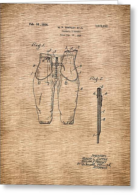 Conferring Greeting Cards - Antique Football Trousers Patent - 1926 Greeting Card by Mountain Dreams
