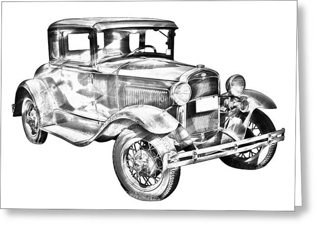 Ford Model A Greeting Cards - Antique Ford Molel A Illustration Greeting Card by Keith Webber Jr