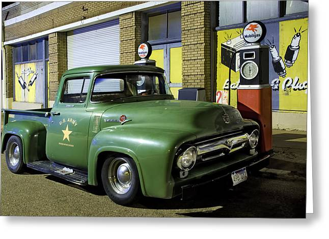 Petrol Green Greeting Cards - Antique Ford Pickup Greeting Card by Dave Dilli