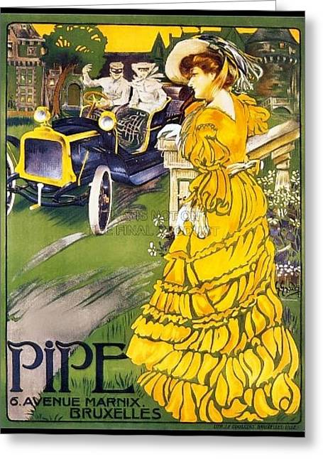 Foreign Ad Art Greeting Cards - Antique foreign automobile advertising Greeting Card by Larry Lamb
