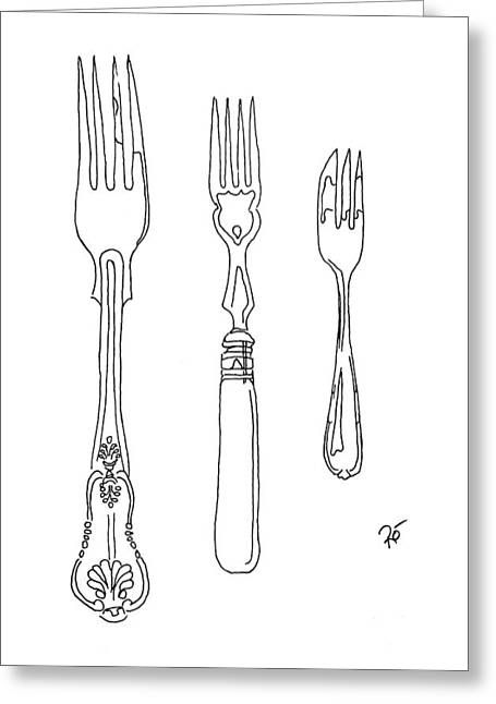 Interior Still Life Drawings Greeting Cards - Antique Fork Trio Greeting Card by Roisin O Farrell