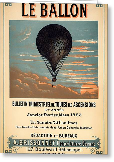 Journal Drawings Greeting Cards - Antique French Aeronautical Journal Cover Greeting Card by Mountain Dreams