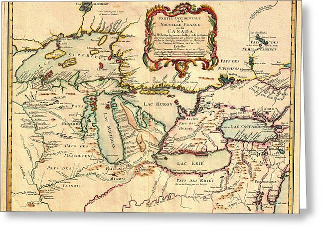 Chicago Drawings Greeting Cards - Antique French Map of the Great Lakes 1755 Greeting Card by Mountain Dreams