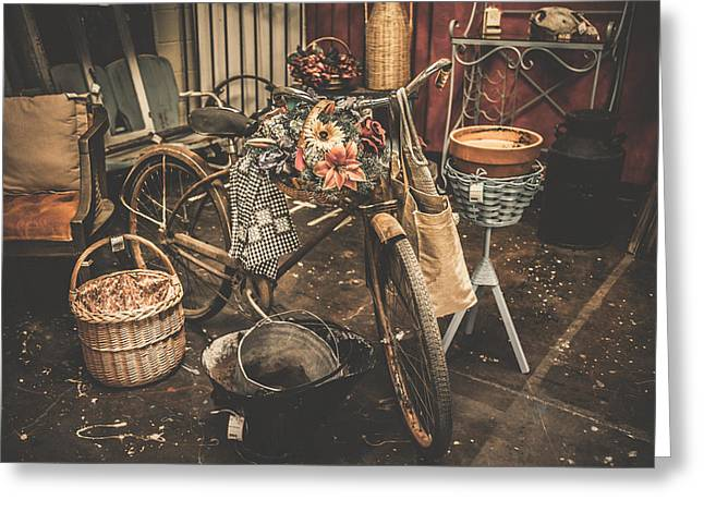 """""""still Life Photographs"""" Greeting Cards - Antique Garden Bicycle Greeting Card by Toni Hopper"""