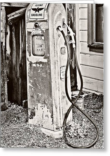 China Beach Greeting Cards - Antique Gas Pump at China Beach Greeting Card by Frank Lee