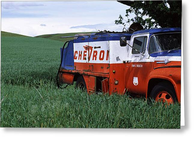 Sky Transportation Greeting Cards - Antique Gas Truck On A Landscape Greeting Card by Panoramic Images