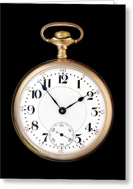 Retro Antique Photographs Greeting Cards - Antique Gold Pocketwatch Greeting Card by Jim Hughes