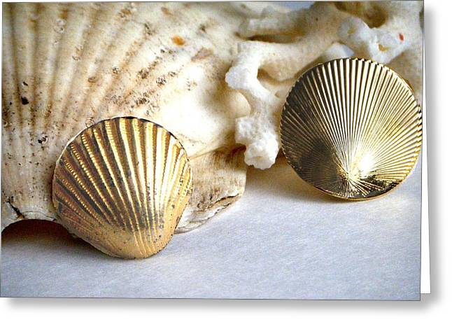 Gold Earrings Digital Greeting Cards - Antique Gold Sea Shell Style Earrings 2 Greeting Card by Bruce Iorio