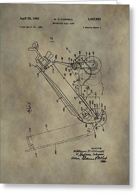 Caddy Mixed Media Greeting Cards - Antique Golf Cart Patent Greeting Card by Dan Sproul
