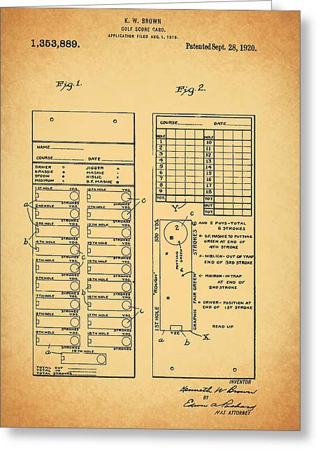 Scores Drawings Greeting Cards - Antique Golf Score Card Patent 1920 Greeting Card by Mountain Dreams