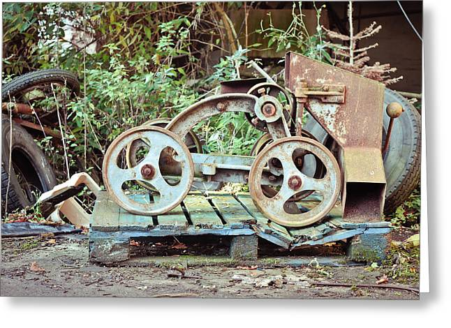 Funnel Greeting Cards - Antique grain barrow Greeting Card by Tom Gowanlock