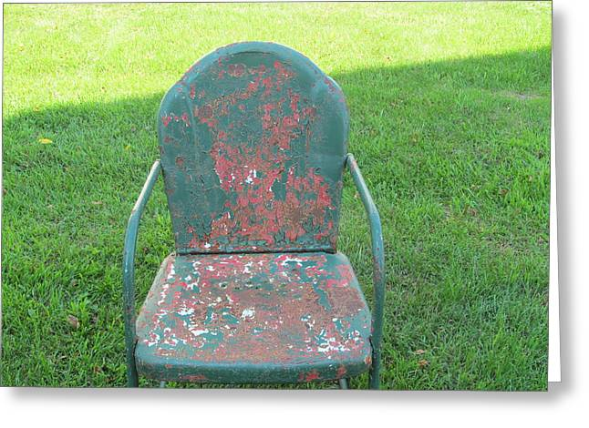 Lawn Chair Greeting Cards - Antique Green Chair Greeting Card by Tina M Wenger