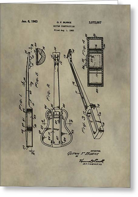 Recording Artists Greeting Cards - Antique Guitar Patent Greeting Card by Dan Sproul