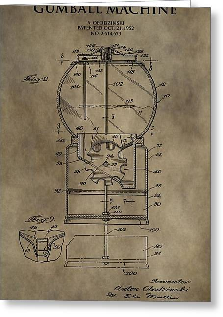 Bubble Gum Gumballs Gumball Machine Greeting Cards - Antique Gumball Machine Patent Greeting Card by Dan Sproul