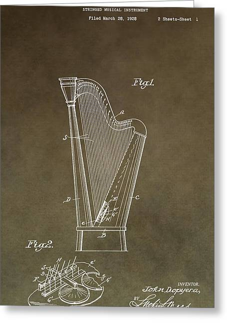 Resonator Greeting Cards - Antique Harp Patent Greeting Card by Dan Sproul